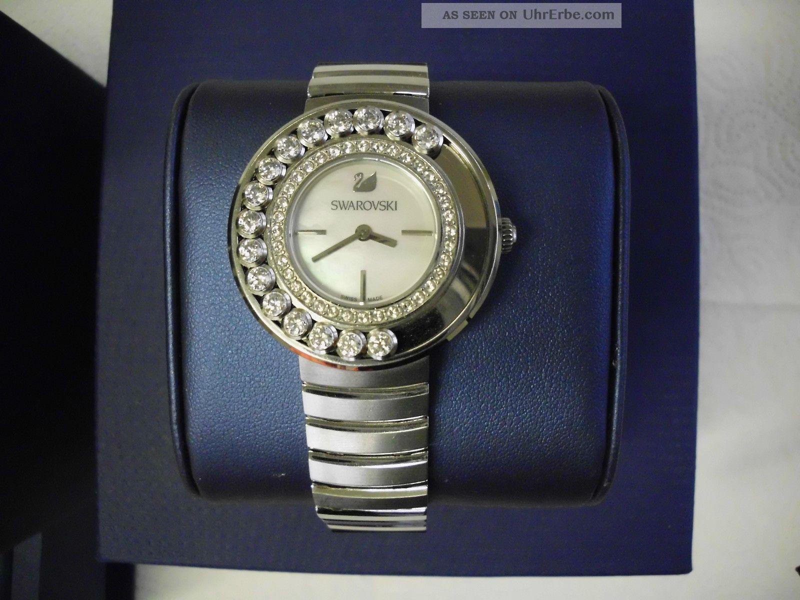 edle swarovski lovely crystals white metal armbanduhr damen armband uhr. Black Bedroom Furniture Sets. Home Design Ideas