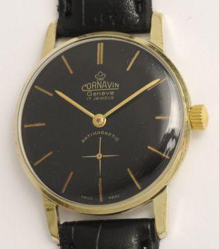 Cornavin Klassische,  Elegante Armbanduhr.  Swiss Made Vintage Watch,  Black Dial. Bild