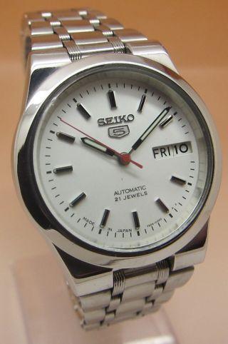 Seiko 5 Durchsichtig Automatik Uhr 7s26 - 01e0 21 Jewels Datum & Tag Bild