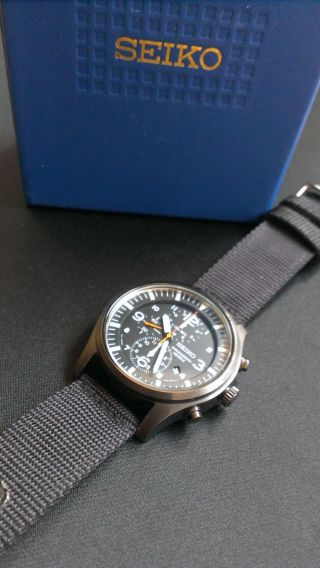 Herren Armbanduhr Seiko Snda65 Chronograph Black,  Flieger Chronograph Homage Bild