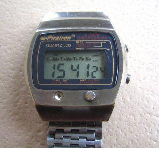 Frühe Vintage Lcd Watch Piratron P - 227a Lcd Quarzuhr Armbanduhr Bild