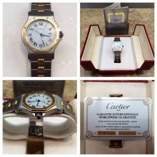 Cartier Santos Stahl/gold Automatik Mit Box Und Papiere Herren Bild