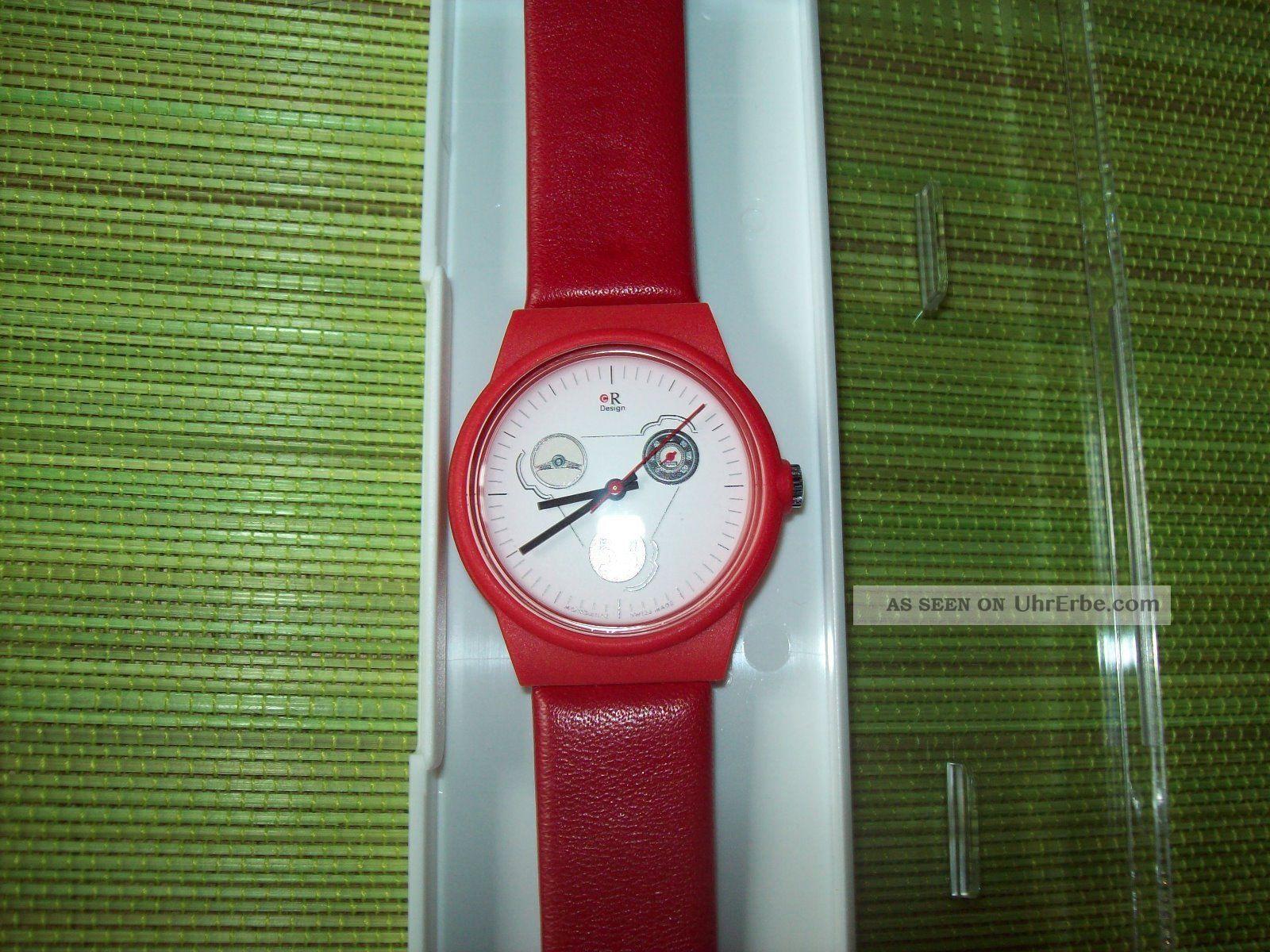 Vw Käfer Uhr - Sammlerstück Von Mondaine (swiss Made) Rot Leder Und Armbanduhren Bild