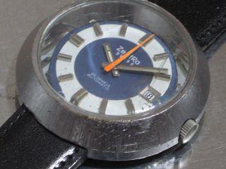 Zentra Herren - Armbanduhr Automatic Blau 70er Jahre Kal.  Eta 2783 Läuft Gut Bild