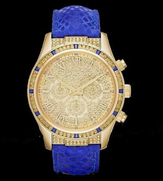 Michael Kors Leyton Damen Armbanduhr Blau Glitz Cristallen Mk2311 Ovp 350 Bild