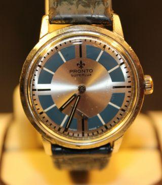 Pronto Superlux Kl.  Sekunden Herren Uhr Handaufzug Pronto Uhr Bild