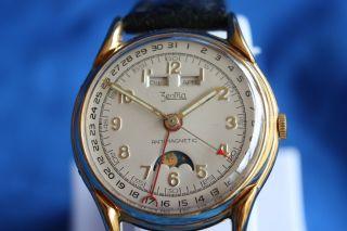 Zentra Armbanduhr Felsa 465 Mondphase,  Vollkalender,  Chrono Ca.  1955 Gold Bild