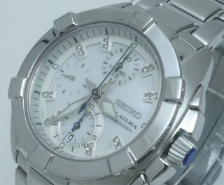 Seiko Damen Velatura Chronograph 16 Diamanten Uhr Sndz19p1,  Schachtel Bild