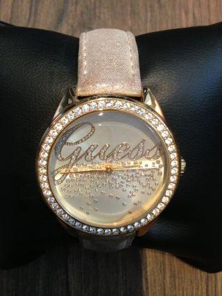 Guess Damen Armbanduhr Uhr Gold Schmuck Leder Armband Stainless Steel Top Bild