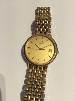 Omega Uhr De Ville Swiss Herrenuhr Vergoldet In Date Watch Bild