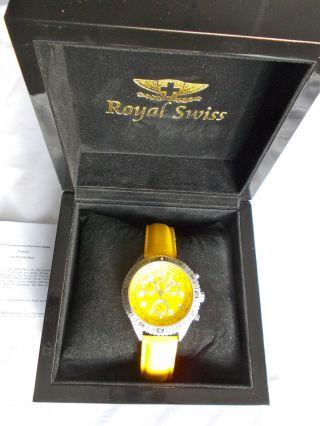 Royal Swiss Gelb Chronograph Experience Uhr Armbanduhr Schweizer Werk Rs - M0047 - G Bild