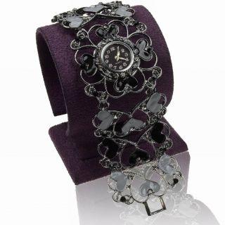 Schward Emaille Liebe Herz Strass Quartz Armreif Mode Wide Armbanduhren Watch Bild