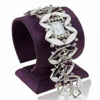Emaille Weiß Steel Leaves Strass Armreif Quartz Mode Partie Armbanduhr Watch Bild