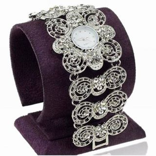Damen Diamante Kristall Wide Circle Link Armbanduhr Mode Hollow Armreif Uhren Bild