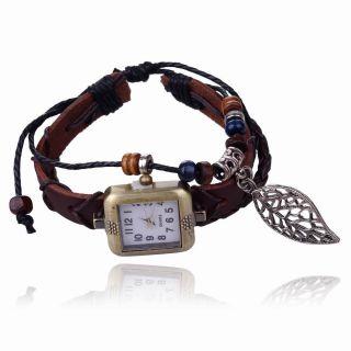 Copper Leder Bands Strap Beads Leaves Kleid Mode Charme Dial Armbanduhr Uhren Bild