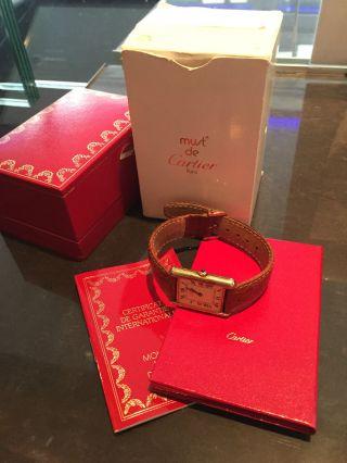 Cartier Vermeil Tank Quartz Mit Box Und Papieren Armbanduhr Bild