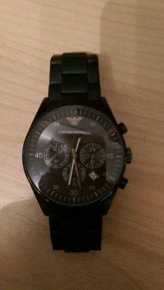 Emporio Armani Herren Uhr Armbanduhr Edelstahl Schwarz Bild