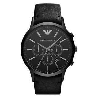 Emporio Armani Uhr Ar2461 Herren Chronograph Leder Schwarz Armbanduhr Analog Bild