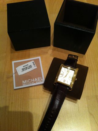 Michael Kors Women ' S Gold Dial Brown Leather Watch Mk2246 Bild