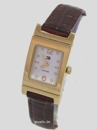 Tommy Hilfiger Damenuhr / Damen Uhr Leder Hell Und Dunkelbraun Gold Bild