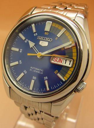 Seiko 5 7s26 - 01v0 Racer Snk371 Glasboden Automatik Uhr 21 Jewels Datum - Taganzeig Bild