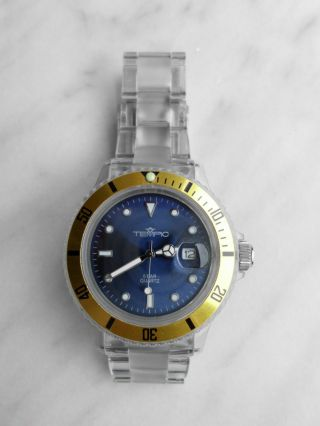 Tempic Armbanduhr,  Ice - Klar,  Quarz,  Kaum Benutzt,  Datumsanzeige Bild