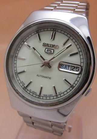 Retro Seiko 5 Lumi Dial Mechanische Automatik Uhr 7009 - 3171 Datum & Taganzeige Bild