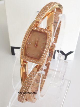 Dkny Crossover Damenuhr / Damen Uhr Strass Rosegold / Rosé Gold Ny8595 Bild