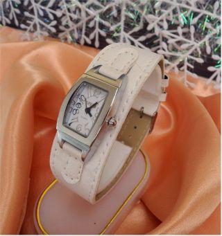Damen Uhr - Armbanduhr - Weiss - Leder Optik - Mit Dornschließe - Top Bild