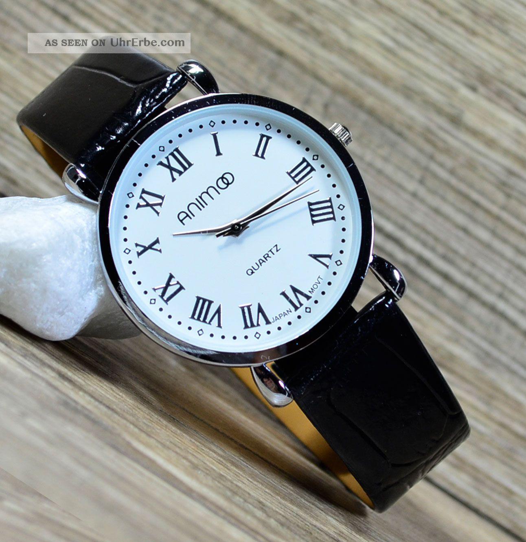 herrenuhr armbanduhr in schwarz weiss slim uhr klassisch r mische zahlen uhr 12. Black Bedroom Furniture Sets. Home Design Ideas