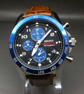 Seiko Sportura Chronograph Alarm Tachy Chrono Datum Stoppuhr Uhr Bild