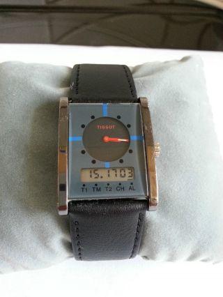 Tissot Two Timer D376 Alarm Chronograph Schwarz Blau Rot T - Swiss - T Aus Sammlung Bild