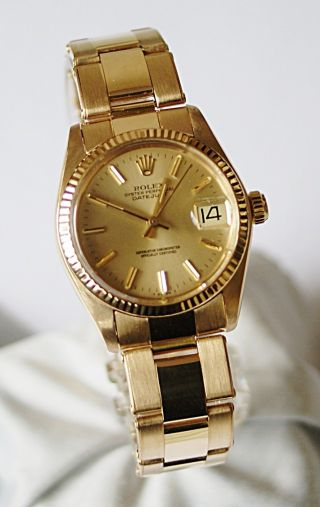Rolex Datejust Medium 6827 Mit 18k Gold Oyster Band Bild