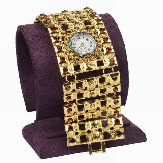 Square Kristall Wide Armbanduhr Hollow Link Studed Mode Armreif Armband Uhren Bild