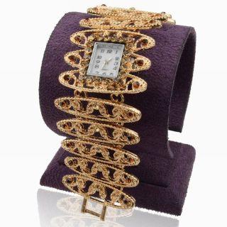 Hollow Strass Topaz Diamante Gem Link Armreif Mode Armband Quartz Armbanduhr Bild