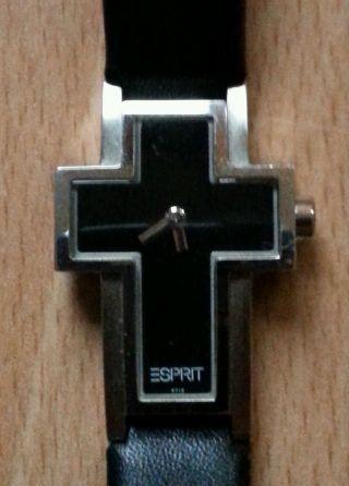 Esprit Damen Uhr Kreuzform Schwarz Bild