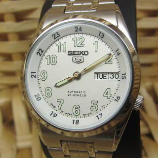 Sport Seiko 5 Weiß Automatik Uhr Tag Und Datumanzeige 21 Jewels - Wie Bild