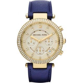 Michael Kors Damenuhr Lederband Blau Armbanduhr Mk2280 Bild
