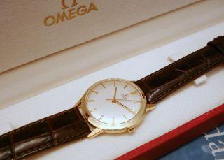 Wunderschöne Omega Top Vollgold 585 Automatik 60er Mit Orig Omega Box Bild
