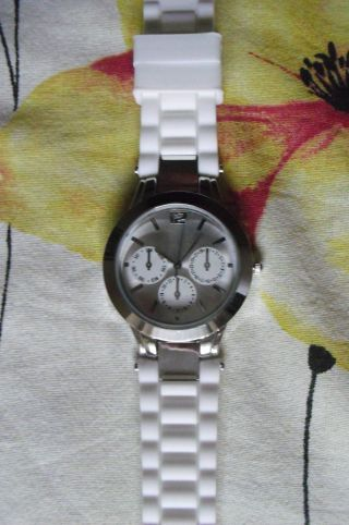 Silikon Damen - Armbanduhr Weiß Mit 2 Zus.  Armbänder In Blau Und Grün Top Bild