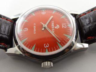 Tressa Rot Armbanduhr Swiss Handaufzug Mechanisch Vintage Sammleruhr 184 Bild