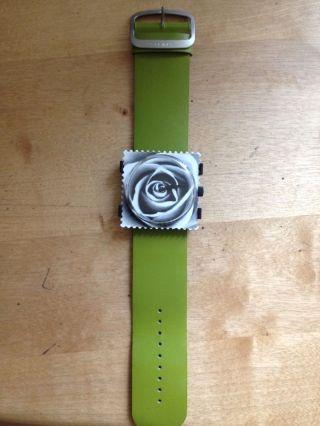 S.  T.  A.  M.  P.  S Uhr Quarz Uhrwerk Mit Batterie,  Motiv Rose,  Armband Oliv, Bild