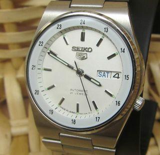 Seiko 5 Mechanische Automatik Uhr Tag Und Datumanzeige 21 Jewels Bild