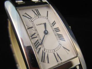 Luxuriöse Cartier Damen Uhr Cartier Tank Americaine 750er 18k Weißgold Quartz Bild