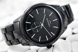 Bisset Bsfd66 Keramik Bisset Black Herrenuhr Swiss Made Armbanduhr Bild
