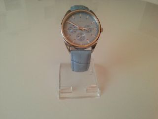 Esprit Armbanduhr Mit Lederband In Hellblau,  Wasserdicht,  Neue Batterie Bild