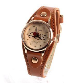 Stylish Women ' S Heart Pattern Wristwatch Leather Quartz Sports Watch Hot Bild