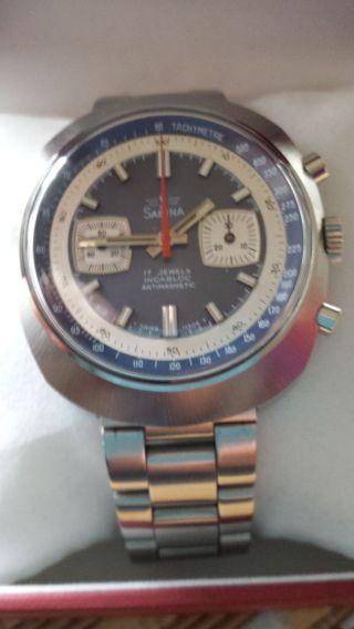 Sabina Chronograph Armbanduhr Für Herren Werk 7733 Vintage Mechanisch Handaufzu Bild