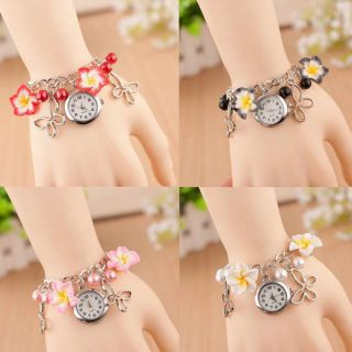 Fashion Ladies Damen Colorful Clay Flower Bracelet Quartz Watch Armbanduhr Uhr Bild