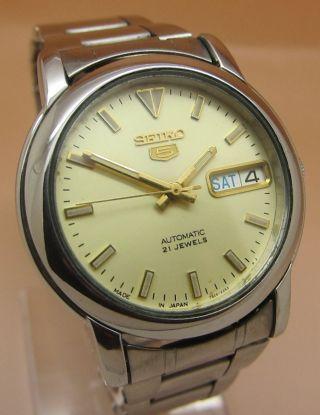 Seiko 5 Durchsichtig Automatik Uhr 7s26 - 02l0 21 Jewels Datum & Tag Bild